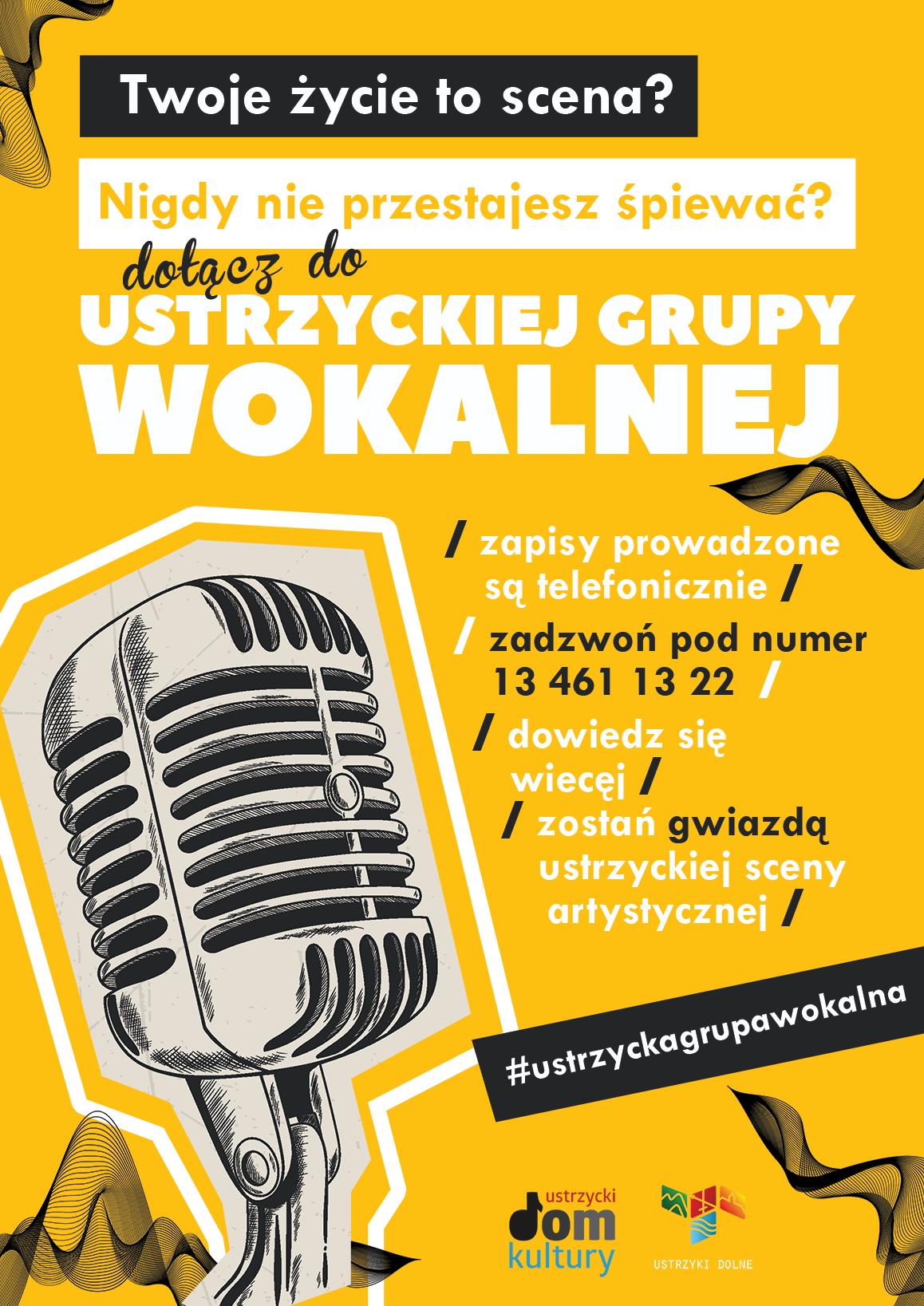 Ustrzycka Grupa Wokalna - grafika z informacjami do kontaktu