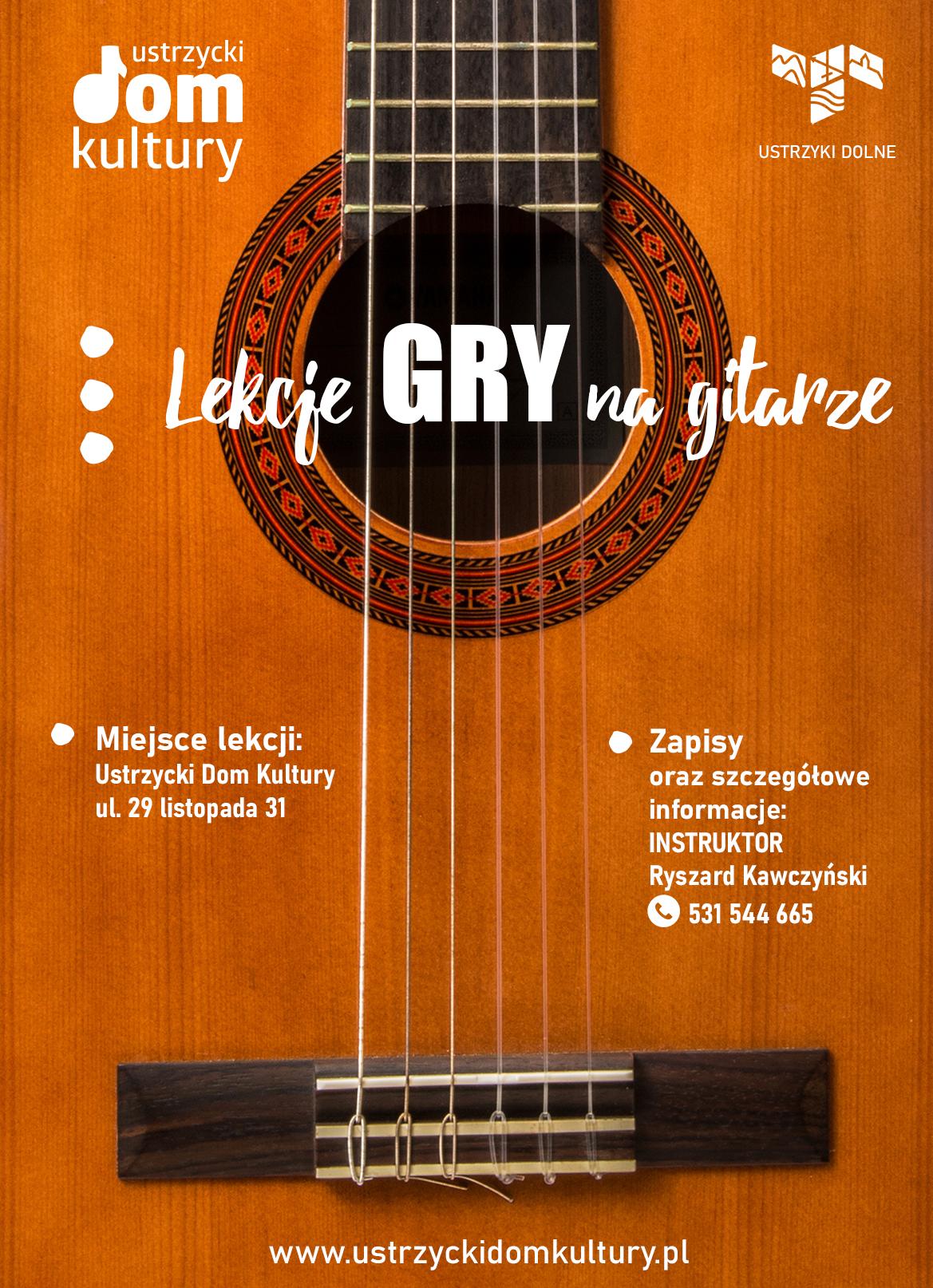 Lekcje gry na gitarze - grafika z informacjami do kontaktu
